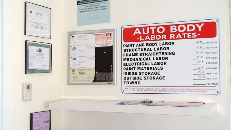 Auto insurance collision repair body shop